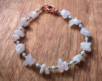 Rainbow Moonstone Nugget Bracelet with Rose Gold Plated Brass Fastenings and Seed Beads, Moonstone Jewellery,