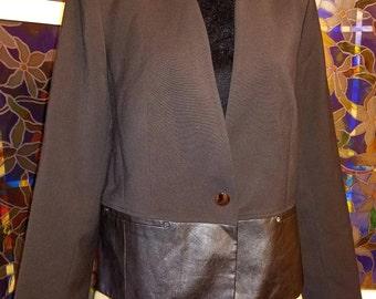 JONES NEW YORK, Leather, Black, Fall, Autumn, Jacket/Blazer, Size 14, Clothing and Shoes, Vintage