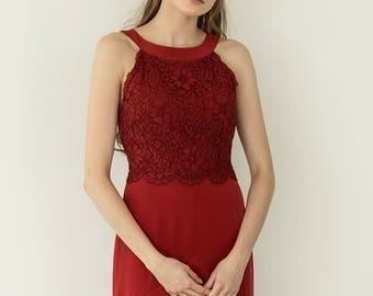 Red lace evening gown, burgundy cocktail halter neck dress  / Gardenia