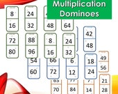 Multiplication Dominoes Pdf/ Times Tables Dominoes Printable/ Fun Multiplication Dominoes/ Printable Dominoes pdf/Math Games with Dominoes