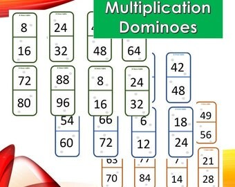 Multiplication tables times tables 8 printable pages - Domino table de multiplication ...