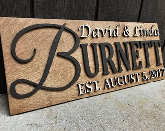 Custom Wood Sign Personalized Wedding Gift Family Name Sign Personalized Wooden Sign Last Name Established Anniversary Gift Sign Couple Gift