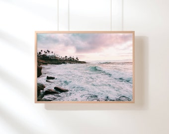 Pink Purple Beach Printable, Sunset Beach Printable Wall Art, Beach Sunset Printable Wall Art, Beach Wall Art, Printable Poster, Digital Art