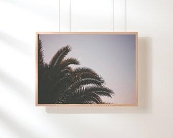 Tropical Printable Art, Palm Tree Print, Tropical Art Print, Purple Pink Wall Art, Green Leaves Tropical Printable Digital Download Green