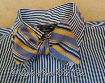 Blue and gold stripe  self-tie bow tie (reversible)