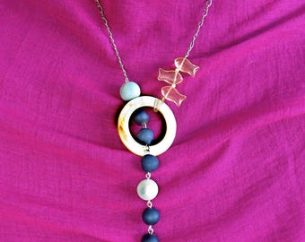 Deep Blue Druzy Beads with Translucent Fish and a Mother-of-Pearl Ring Necklace on an Adjustable Chain