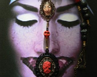 Necklace, Rosary, Rosary Gothic Lady Skull, lava beads, Cabochon, Stass, cross, Skull, Howlite, wood beads, Bronze, Gunmetal.