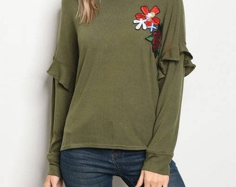 Long Sleeve Olive Top with sequins flowers