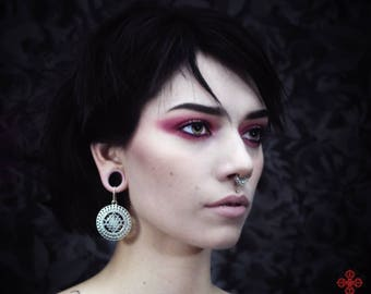 earring,ear weights,plugs,wiccan,esoteric,witch,mandala,geometric,goth,tribal,ornemental,yoga,pagan,esoteric