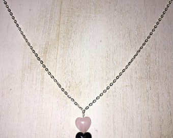 Simple Pink & Black Heart Beaded Necklace