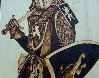 Wood pyrography, pyrography art, wood burned decor, middle age soldier, woodburning art, armor drawing, historical style, rustic home decor