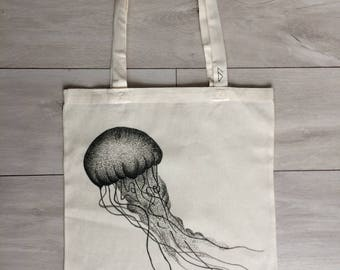 hand-painted, eco-friendly Jellyfish tote bag #1SeaAnimals