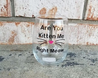 Are You Kitten Me Wine Glass