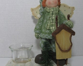 Vintage Crazy Mountain Angel with Sled Figurine Candle Votive Holder Ceramic Collectible