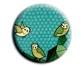 pocket mirror - TURQUOISE owl mirror, blue green, mini pocket mirror, small pocket mirror, gifts for friends, gift for her, mountain gifts