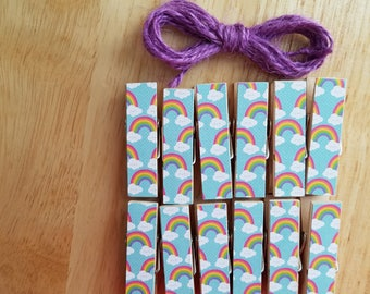 Happy Rainbows and Clouds Clips w Twine for Photo Display - Chunky Little Clothespin Set of 12 - Girl Birthday Baby Shower - Ready to Ship