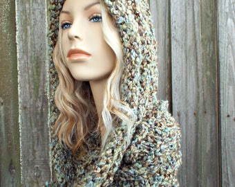 Knit Womens Hat Hooded Scarf - Wrap Hood Hat in Mixed Browns and Blues - Cowl Scarf