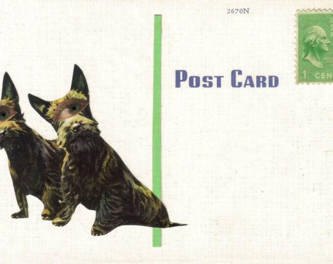 Big Eye Dog Art Collage, Kitsch Artwork Postcard