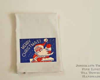 "Hostess Christmas Gift - Linen Tea Towel - Christmas Hostess Gift - Christmas Party Gift - ""Merry Christmas Santa"" - Hostess Kitchen Towel"