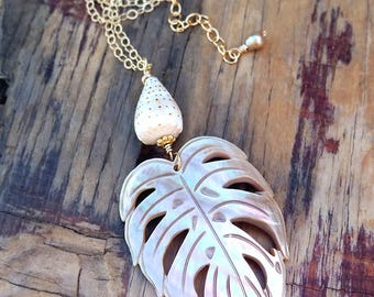 Monstera Leaf Necklace, Tropical Leaf Necklace with Cone Shell, Palm Leaf, Hawaii Jewelry 14K Gold Chain, Long Layering Hawaiian Leaf