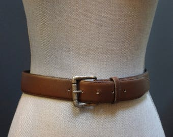 Vintage Simple Brown Leather Belt, Classic Waist Belt, Brown Waist Belt, Women's Size Small, Brown Leather Cinched Waist Silver Buckle