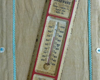 Thermometer vintage advertising Silica Hardware, Malone, Wisconsin