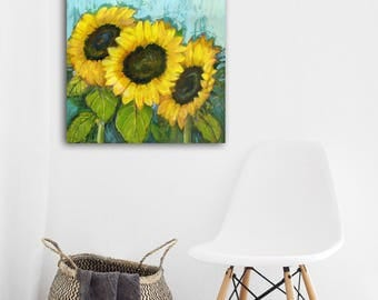 Sunflowers, Colorful Art, Floral Painting, Original Artwork, Still Life Painting, Eclectic Art, Flowers 20x24, Wildflowers