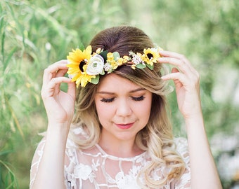 sunflower crown, sunflower wedding headpiece, yellow flower crown, sunflower headpiece, yellow and green floral crown, ranunculus and leaf