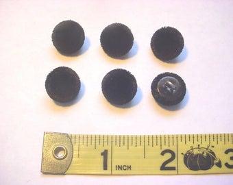 """6 x 1/2"""" Black Silk Velvet Covered Buttons"""