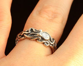 Silver Octopus Ring Tentacle Ring Sterling Silver Kraken Ring Octopus Jewelry Silver Ring Silver Band Steampunk Jewelry Wedding Ring Unique