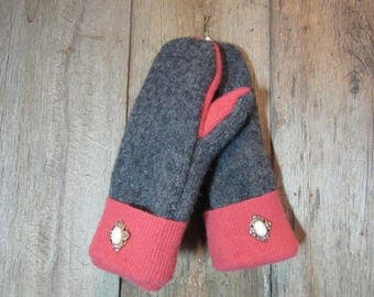 Grey and Coral Wool  Sweater Mittens - Ladies