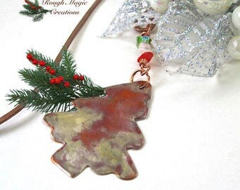 Christmas Tree Bookmark Holiday Gift for Bookworm, Stocking Stuffer, Antiqued Copper, Rustic Hammered Metal Book Mark, Red & Green Beads