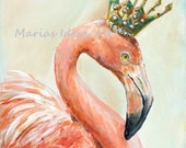 Flamingo print, Bird with crown, Bird wearing crown, Flamingo art, Crown, Princess art, Queen, Marias Ideas Art