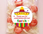 Personalized Fiesta Party Favor Tags or Stickers – 2, 2.5 or 3 Inch Circle – DIY Printable  (Digital File)
