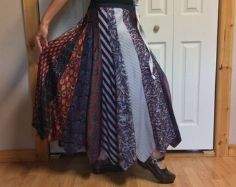 Long Silk Skirt/Plus Size Skirt/Silver Tie Skirt/Upcycled Clothes/Recycled Necktie Skirt/Mens Neckties/Repurposed Clothing/Womens Large-XL