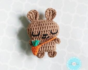 Mini brown bunny tiny carrot bag - cotton amigurumi handmade rabbit plush newborn baby kid boy girl pretend play toy gift photo prop doll