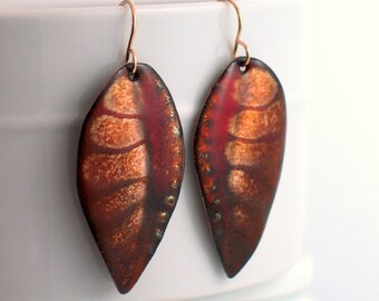 Dark Brown Red Enameled Leaf Earrings, Copper Enamel Dangle Leaf Earrings, Rich Glowing Art Enamels, Hand-crafted Artisan Jewelry