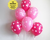 "Pink First Birthday Decorations 1st Birthday Balloons - 6 pack 11"" Latex - Girls Birthday Party One Birthday Pink 1st Birthday Party Decor"