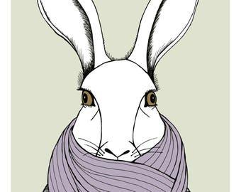 Bundled Up Bunny illustration print