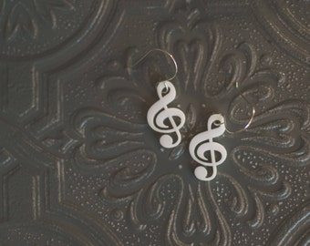 Treble Clef Musical Earrings in white