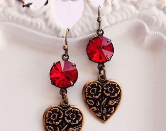 JULY Special July Birthday Gift - Jewelry - Heart Earrings - Red Crystal - Romantic - JULY SPECIAL Earrings