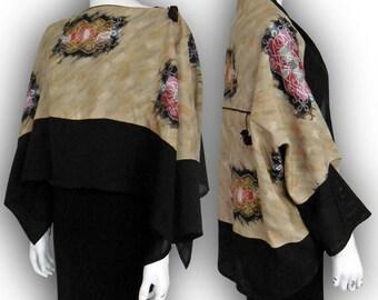 Japanese Kimono Recycled- 2-Way Origami Blouse Shrug - Two-Tone / Vintage Meisen Asian Pattern