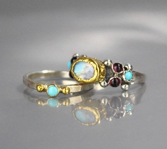 Turquoise Wedding Ring Set Turquoise Ring Stacking Rings