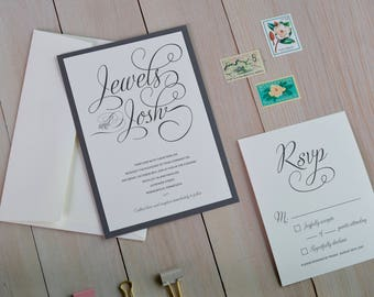Script Names Double Layer Wedding Invitation Set, with Response Card, Marriage Ceremony Invitations, Catholic, Jewish