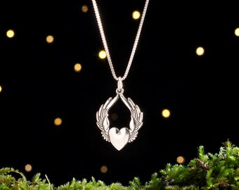 Sterling Silver Flying Heart Pendant - (Pendant, Necklace, or Earrings)