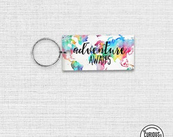 Keychain Awaits Rainbow Map Acrylic Key Ring Keychain 1.5 x 3 Inch