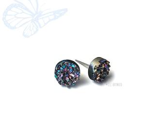 Glitter Stud Earrings, Midnight Rainbow Faux Druzy - 10mm Studs on Titanium Posts