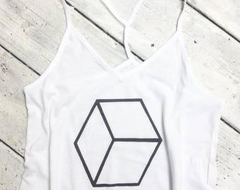 womens skinny strap satin cottone cube tank top, gemoetric tank top, shape shirt, honeycomb,  tank top