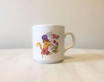 Vintage childs mug, vintage mug, nursery decor, vintage fox mug, ceramic mug, vintage child's cup, collectible fox mug, retro child's cup