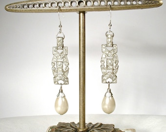1920s Art Deco Dangle Earrings, Sterling Silver French Paste Rhinestone Pearl Drop, Vintage Long Bridal Statement Earrings Gatsby Edwardian